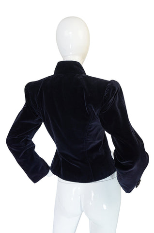 1970s Yves Saint Laurent Deep Blue Velvet Fitted Jacket