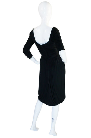1940s Ceil Chapman Attr. Black Jersey Draped Dress