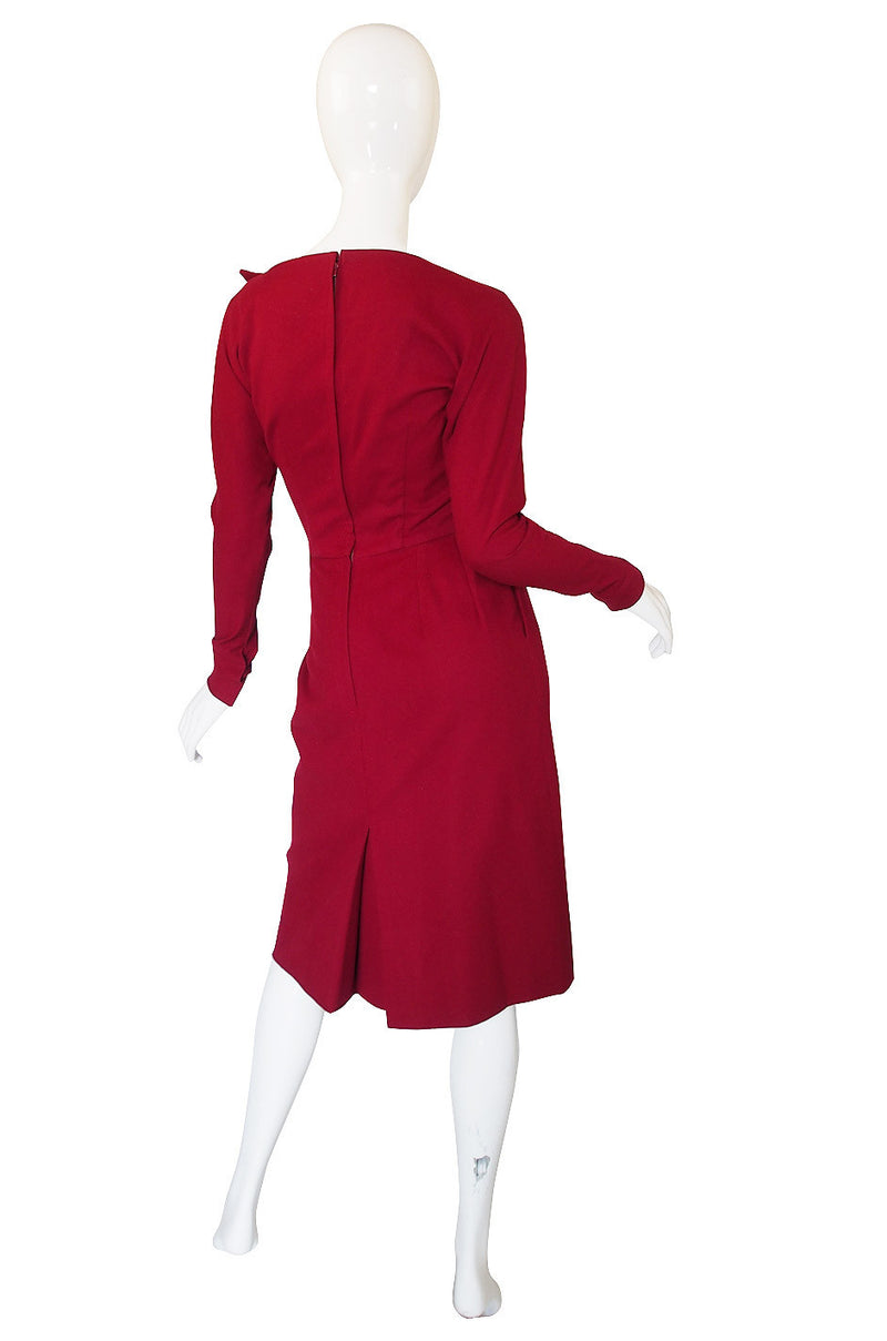 1950s Suzy Perette Dramatic Red Button Dress