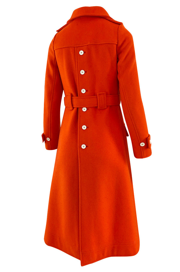 1971 Courreges Numbered Hyperbole Bright Orange Wool Coat w Quilted Interior