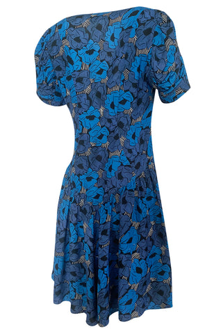 Resort 2012 Yves Saint Laurent Tie Front Blue Print Crepe Dress