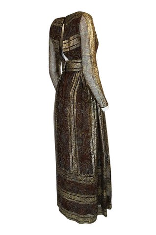 c1968 Christian Dior Demi-Couture Gold & Printed Silk Dress