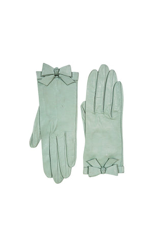 1980s Pale Mint Green Chanel Gloves With Bows Sz 7