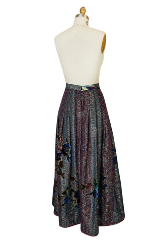 1980s Oscar de la Renta Metallic and Velvet Applique Skirt