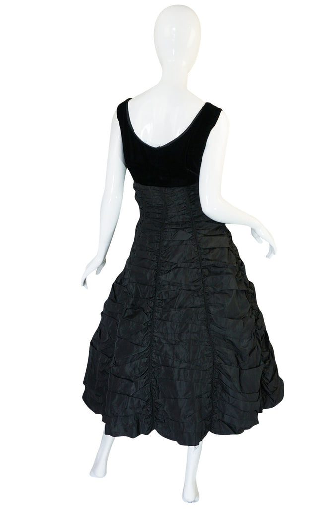 "1950s Black Silk Taffeta & Velvet ""Coffin Drape"" Dress"