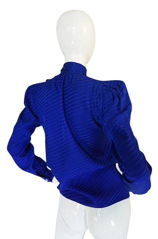 1970s Yves Saint Laurent Beautiful Blue Silk Tie Neck Top