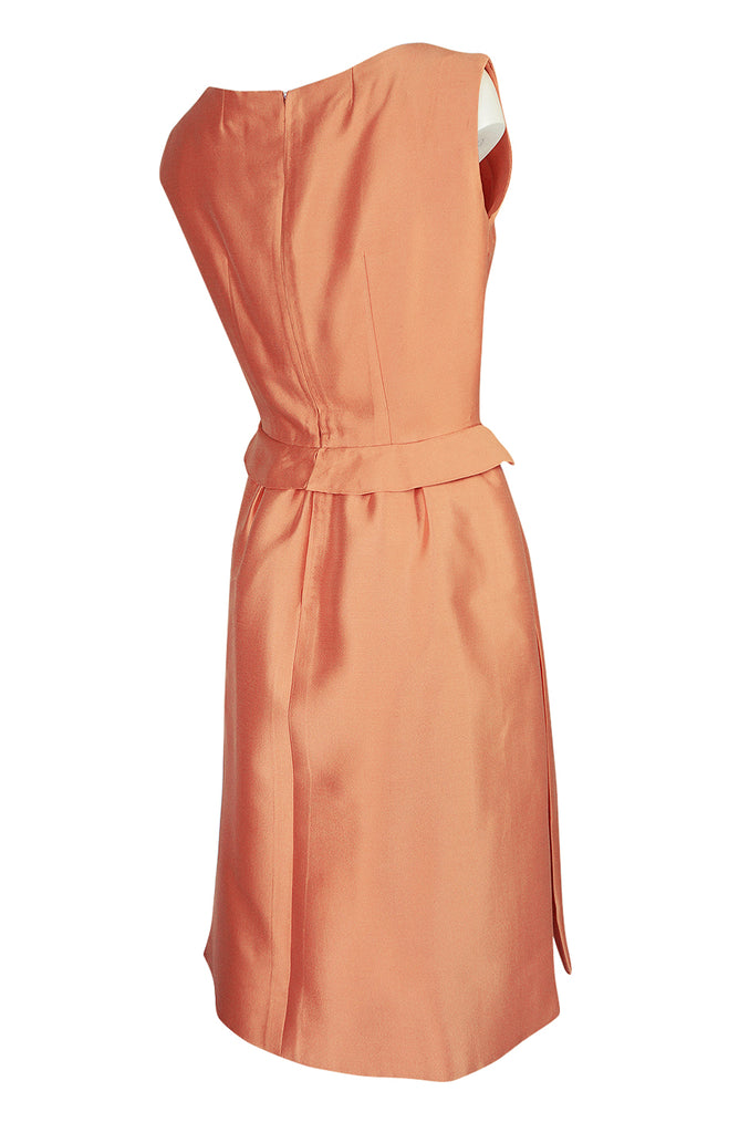 c.1965 Christian Dior Demi-Couture Peach Silk 'Apron' Dress