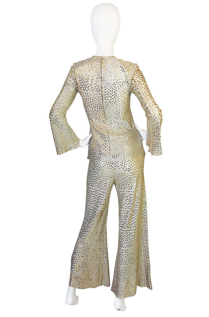 1960s Mollie Parnis Silk & Sequin Gold Flared Pant Set