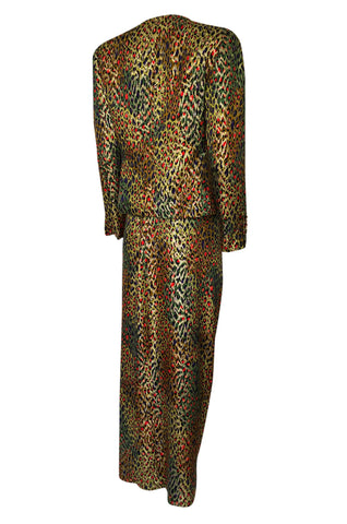 1980s Bill Blass Gold Silk Lame Leopard Evening Jacket & Skirt Suit