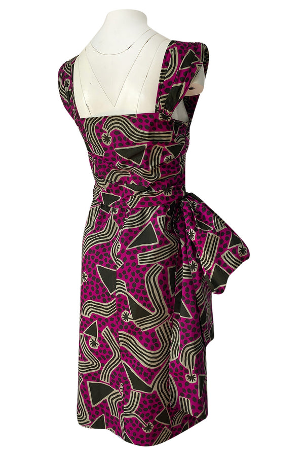 Fantastic 1990s Yves Saint Laurent Printed Cotton Hip Swag Sarong Dress