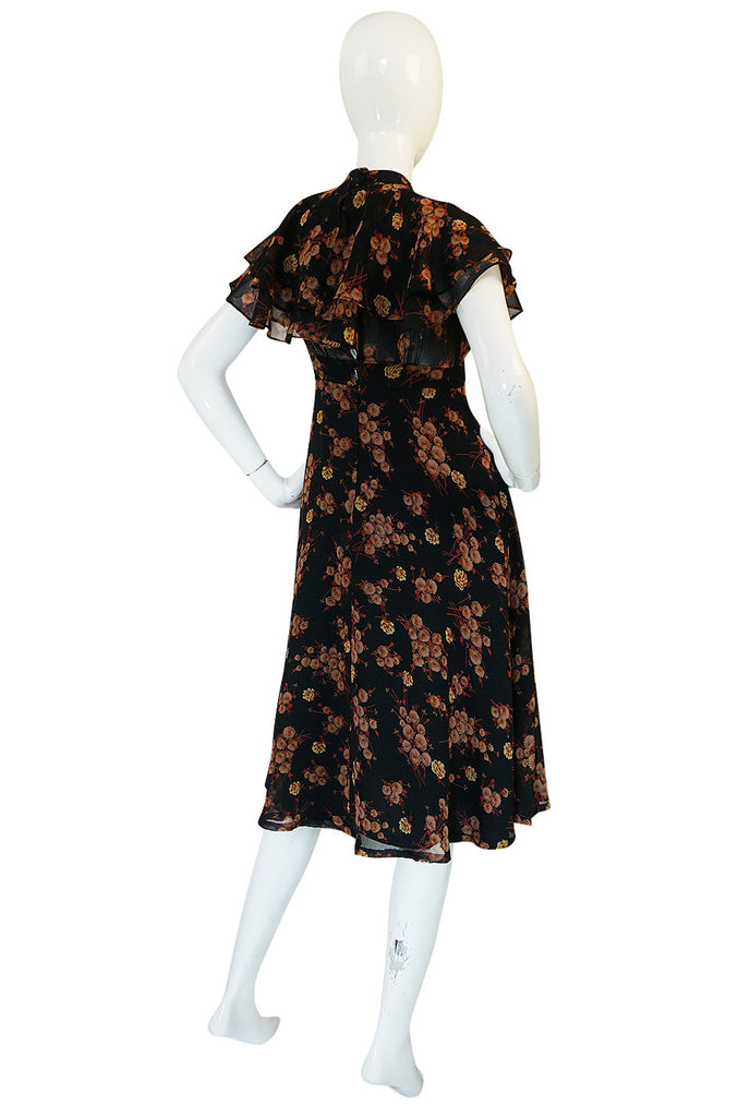 1970s Ossie Clark for Radley Printed Floral Chiffon Dress