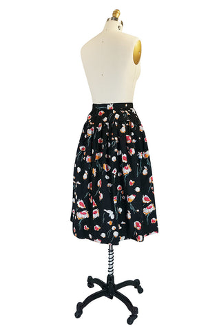 1970s Yves Saint Laurent Floral Printed Full Cotton Skirt