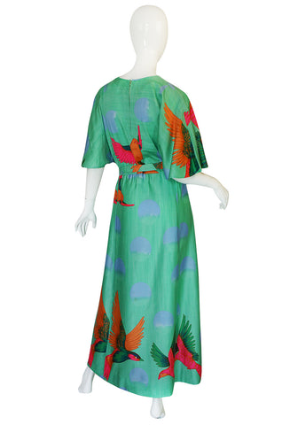 1970s Hanae Mori Green & Tropical Bird Caftan Dress
