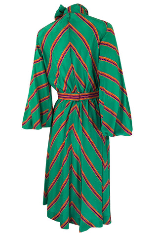 1970s Pauline Trigere Green Striped Silk Dress w Unusual Sleeves