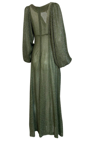 1970s Ossie Clark Metallic Green & Silver Lurex Knit Lame Plunge Dress