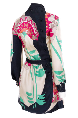 1960s Jean Patou Couture Signed Scarf Print Silk Twill Mini Dress