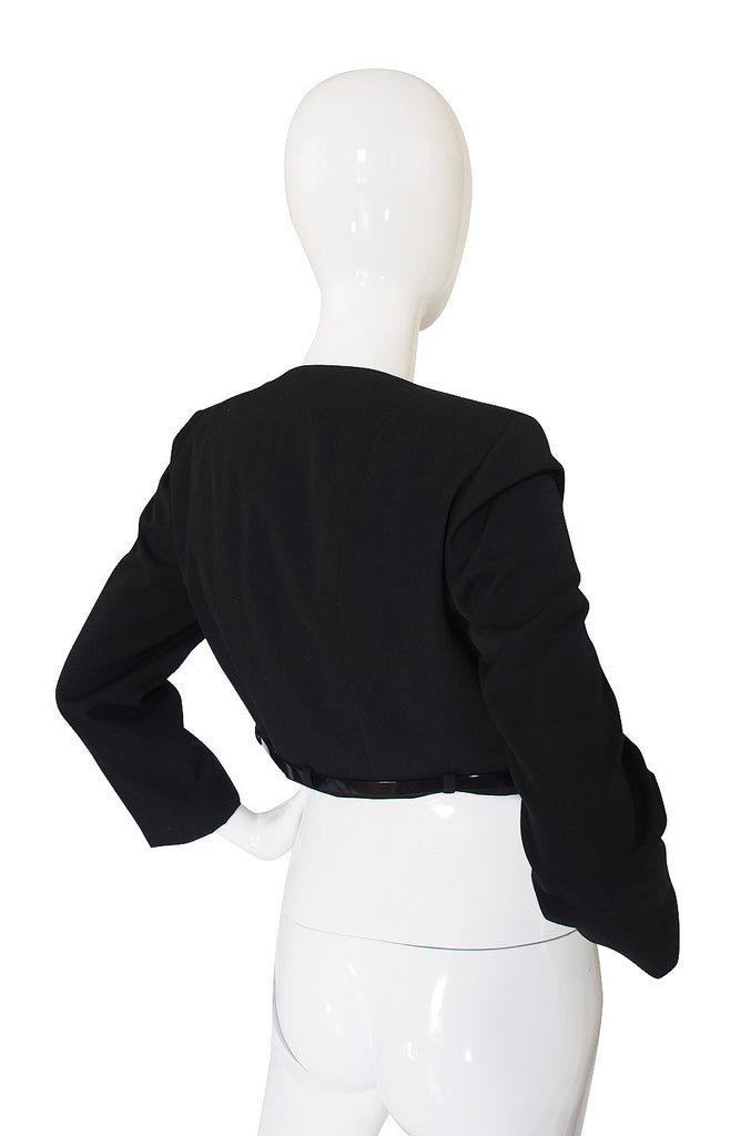 c2000 Chic Little Black Cropped Chanel Jacket & Belt