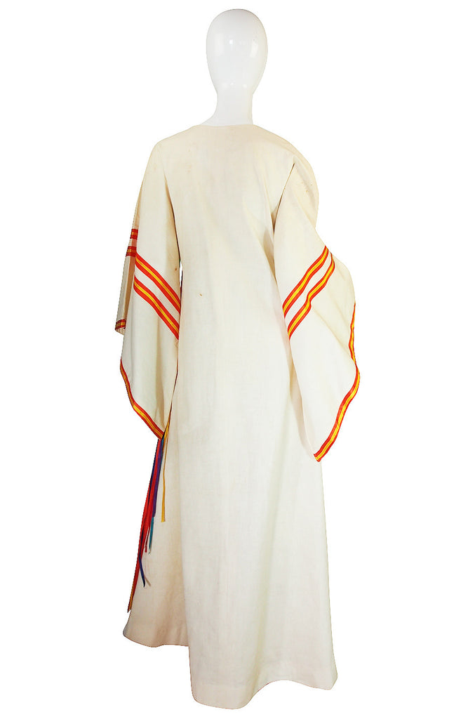 1960s Josefa Mexico Rainbow Ribbon Caftan