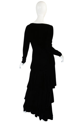 1970s Demi-Couture Black Velvet Tiered Lanvin Dress