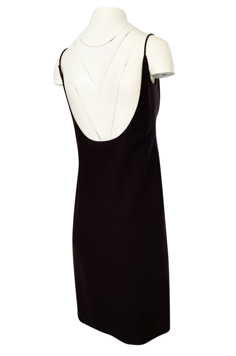 Spring 1968 Unlabeled Norman Norell Deep Brown Dress w Dipped Back