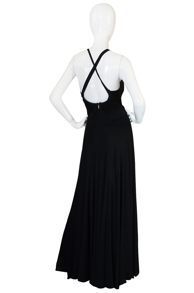 Recent Roberto Cavalli Plunging Black Silk Jersey Dress