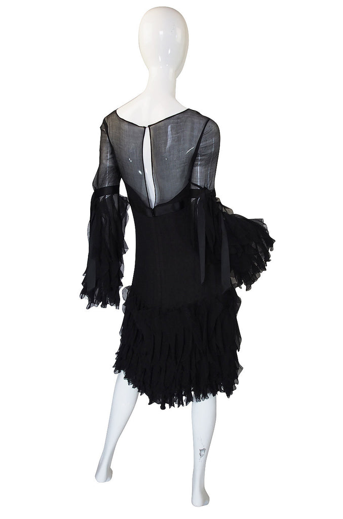 1990s Oscar De La Renta Silk Ruffle Dress