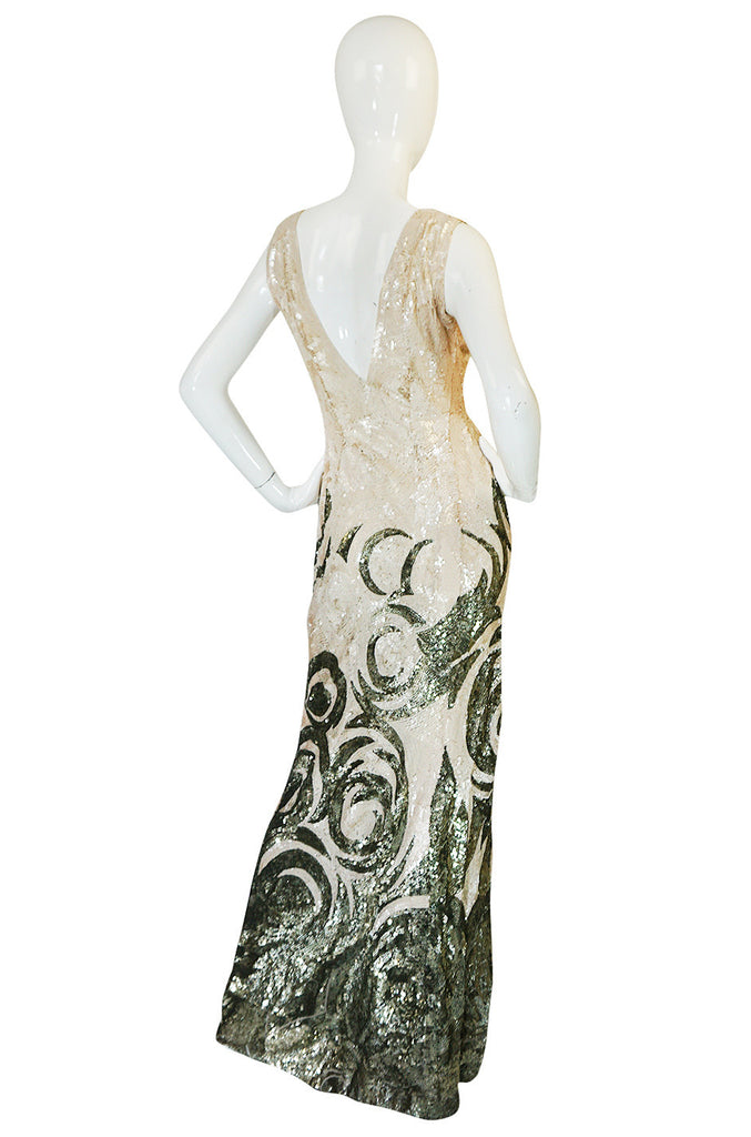 Spectacular 1920s Couture Swirling Gold & Cream Sequin Dress