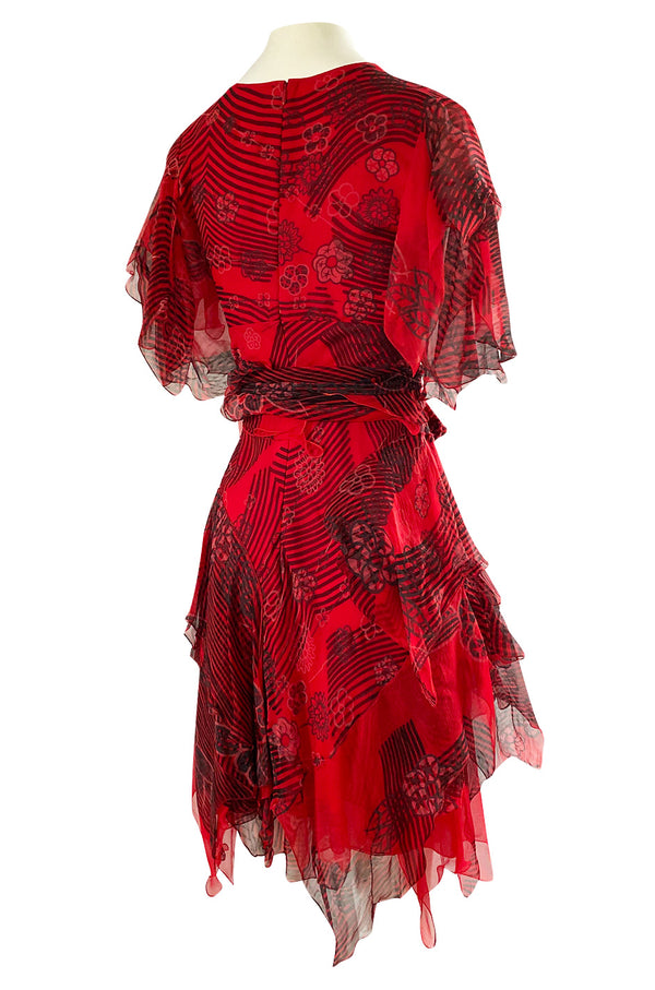 Spring 1988 Zandra Rhodes 'Fantastic Flower Garden' Red Silk Print Dress