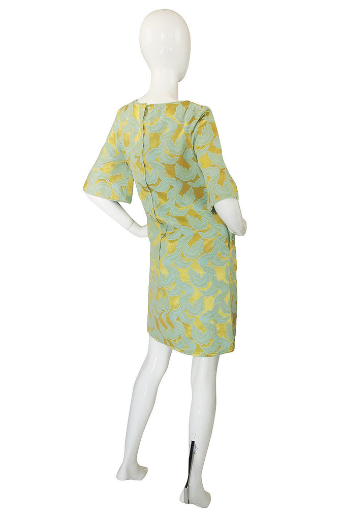 1960s Blue & Gold Metallic Mod Dress