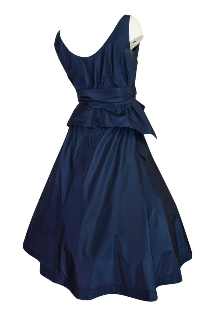 1950s Pauline Trigere Blue Silk Taffeta Cocktail Skirt, Top & Sash