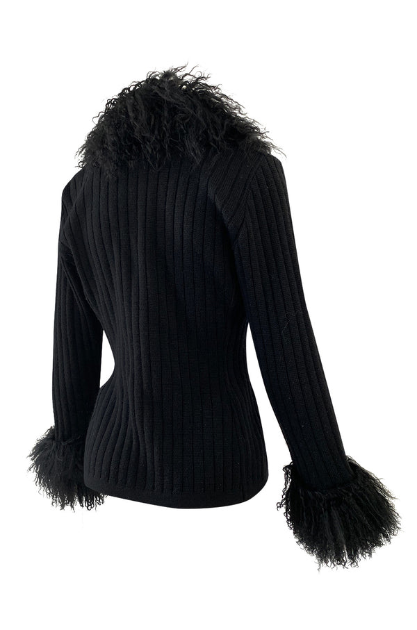 c. 1973 Yves Saint Laurent Black Ribbed Knit Sweater w Mongolian Fur Trimmed Collar & Cuffs
