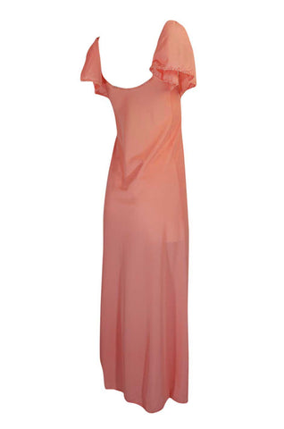 1970s Front Gathered Pink Coral Nylon Lingerie Dress