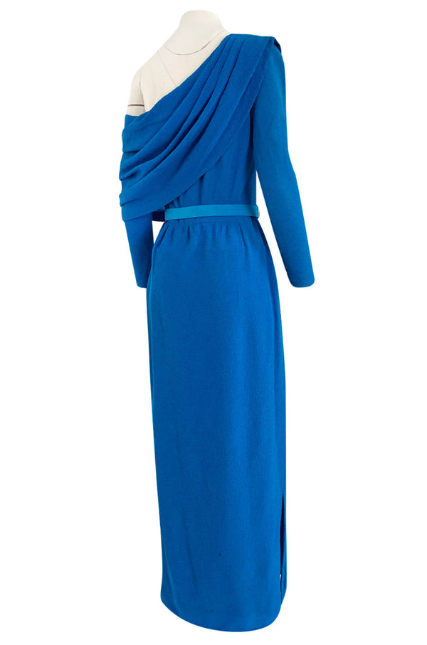 Important Spring 1993 Yves Saint Laurent Haute Couture One Shoulder Silk Crepe Dress