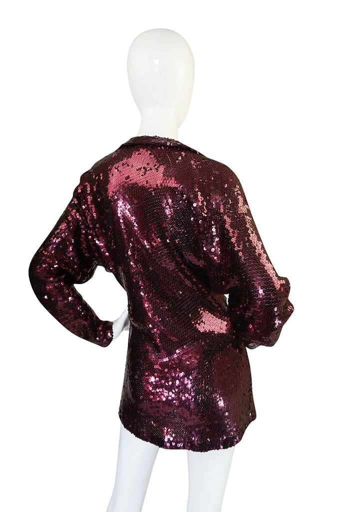 1970s Halston Burgundy Sequin Tunic or Mini Dress