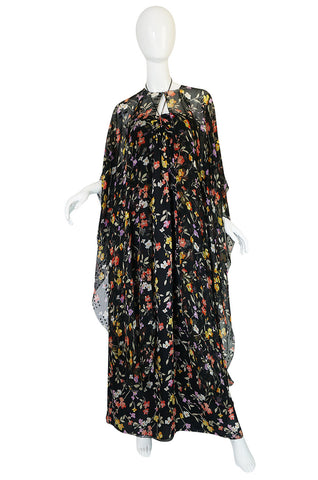 1960s Oscar de la Renta Silk Chiffon Halter Dress & Cape