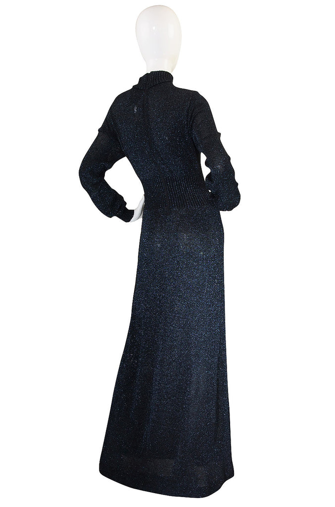 1970s Supermodel Length Wenjilli Metallic Blue Dress