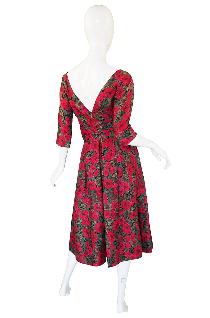 1950s Red Rose Silk Suzy Perette Dress