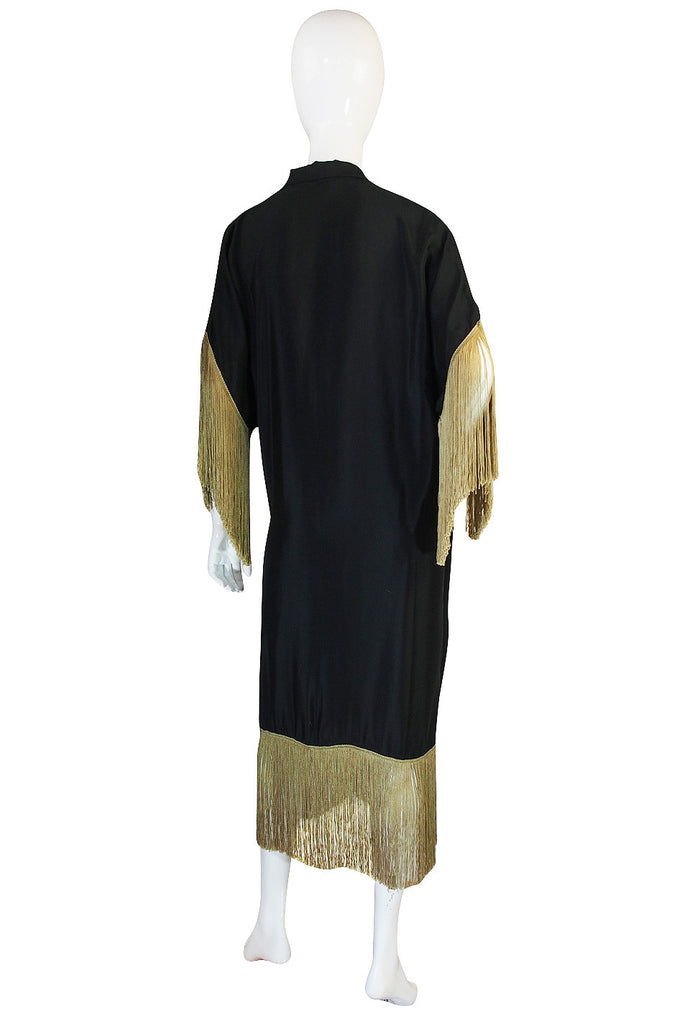 1920s Silk Fringe Dressing Gown or Evening Coat