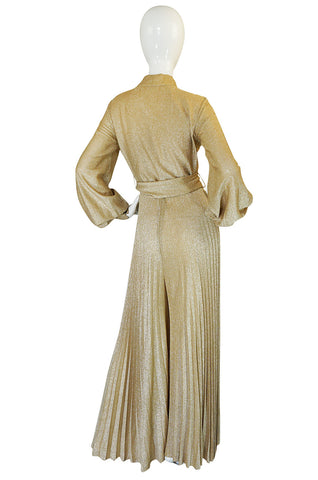 1970s Gold Lame Knit Jumpsuit with Wide Pleated Legs
