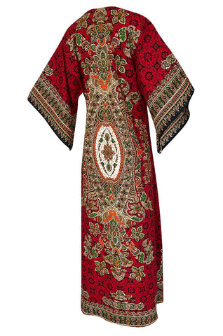 1960s Unlabeled Red Thai Print Cotton Caftan Dress w Frog Knot Detail