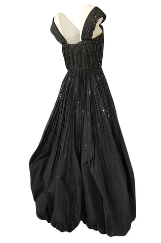1961 Norman Hartnell Haute Couture Rhinestone Detailed Bubble Hem Dress