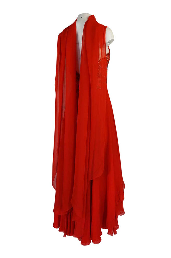 Stunning c1978 Nina Ricci Haute Couture Hand Beaded Layered Red Silk Chiffon Dress