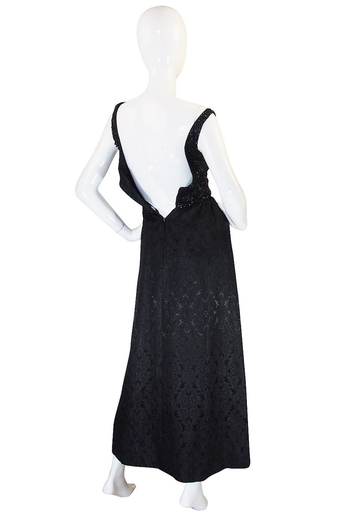1960s Nathan Strong Black Silk Beaded Gown