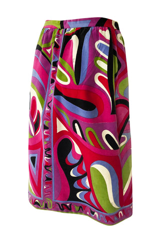 1960s Emilio Pucci Swirling Pink & Lavender Print Cotton Velvet Skirt