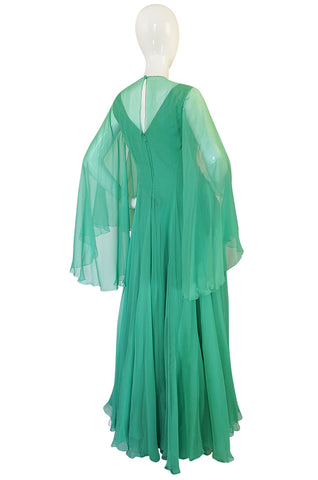 1970s Stavropoulos Couture Romantic Layered Silk Chiffon Dress