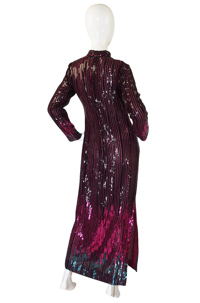 1970s Ombre Sequin Ruben Panis Maxi Dress