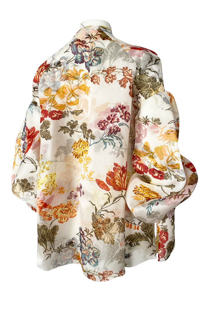 Fall 2017 Rosie Assoulin Silk Organza Swash Buckler Floral Top