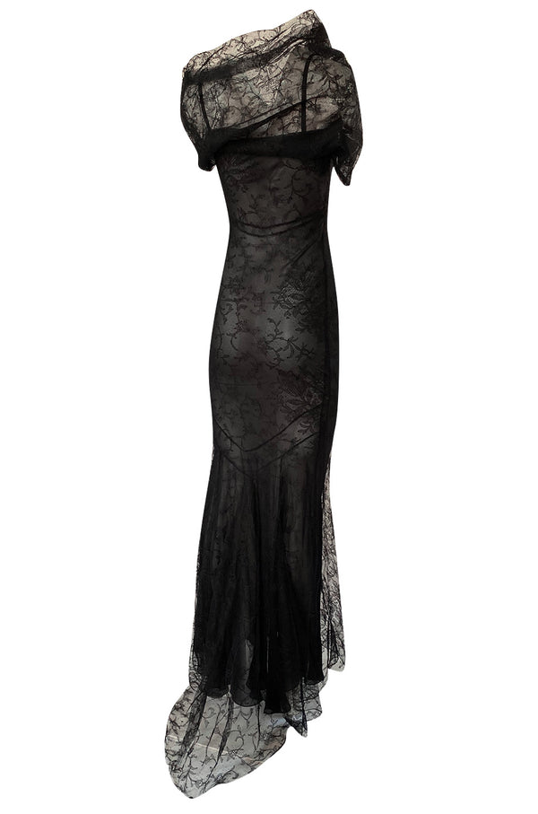 Incredible 2000s John Galliano Fine Black Lace Dress w Train & High Collar