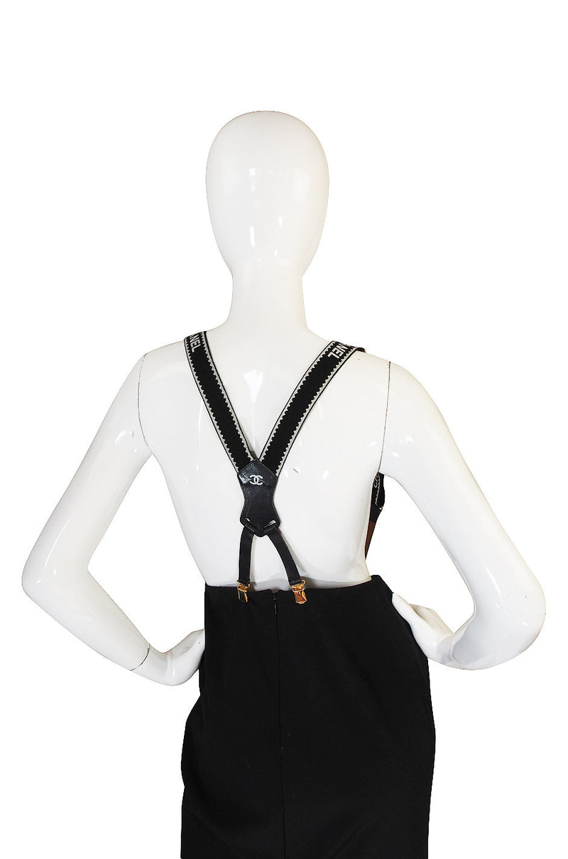 c.1994 Iconic Black and White Chanel Logo Suspenders