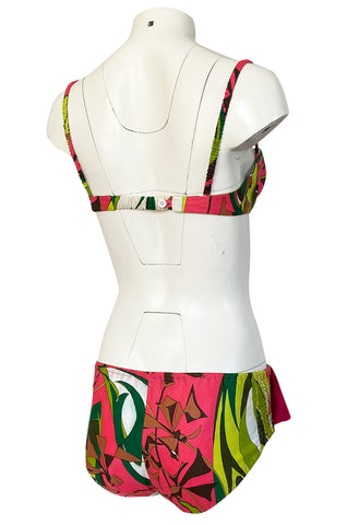 1968 Emilio Pucci Two Piece Coral Print Cotton Bikini Swimsuit